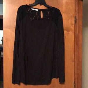 Lace trim black shirt
